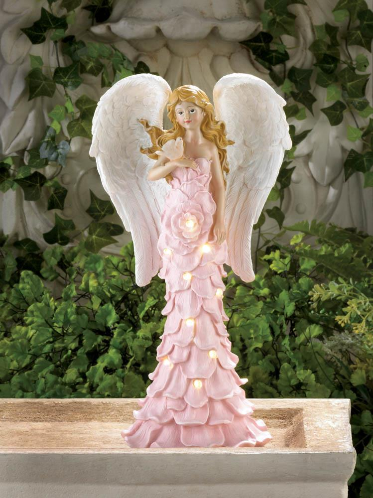 SOLAR POWERED PINK ROSE ANGEL STATUE 10018518